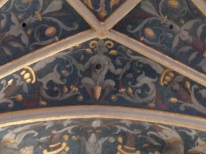 Horned, satyr-like figure on the ceiling. The penis has not been covered!